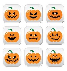 Halloween pumpkin buttons set vector image vector image