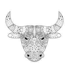 Head bull coloring for adults vector image vector image