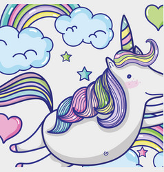 magic and fantastic unicorn cute cartoon vector image