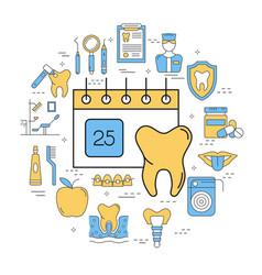 round linear concept of calendar dental care vector image vector image
