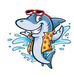 Cartoon Shark Beach vector image vector image