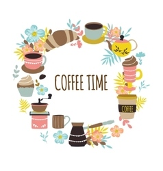 Coffee Time Round Design vector image
