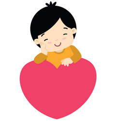 cute little boy leaning on a heart valentines day vector image vector image