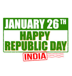 happy republic day grunge rubber stamp vector image vector image