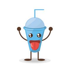 kawaii plastic cup soda straw vector image vector image
