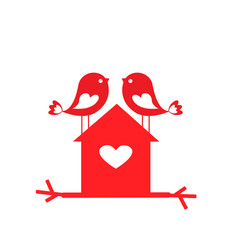 love cute birds and birdhouse - card for vector image vector image