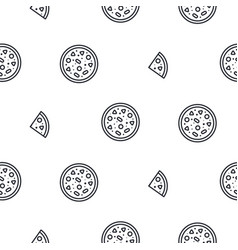 pizza line icon seamless pattern vector image vector image