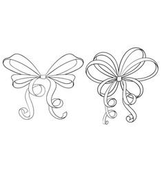 ribbon bows hand drawn sketch vector image vector image