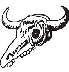 simple black and white cow skull vector image vector image