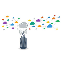 Business connecting to cloud computing data vector