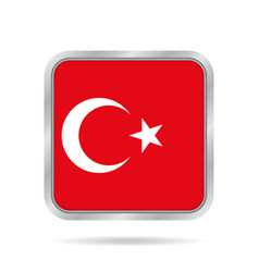 flag of turkey shiny metallic gray square button vector image vector image