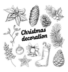 merry christmas hand drawn decoration doodle vector image vector image