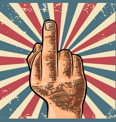 middle finger sign by male hand vector image vector image