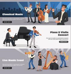 musician banner set vector image vector image