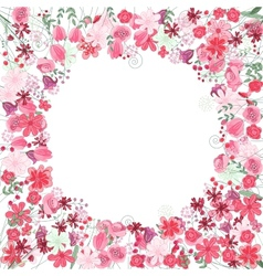 Vintage round frame with contour red flowers vector image vector image