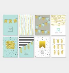 Birthday invitation cards set golden glitter vector