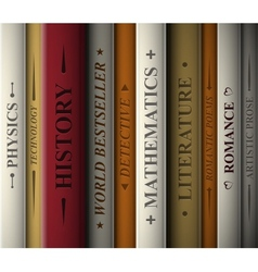 Books of various genres vector image vector image