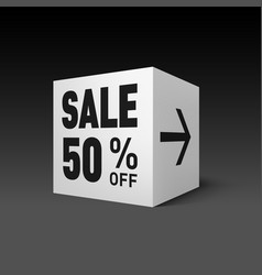 cube banner template for holiday sale event fifty vector image vector image