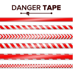 danger tape red and white warning tape vector image vector image