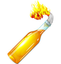 Molotov cocktail with burning rag vector image