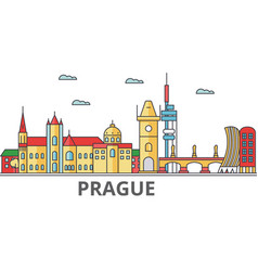prague city skyline buildings streets vector image