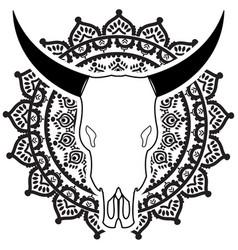 wild animal skull in black and white on mandala vector image