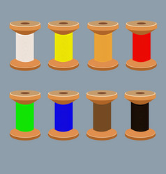 A set of coils with multi-colored threads vector
