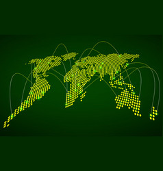 abstract world map with glowing radial dots vector image
