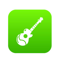 acoustic guitar icon green vector image