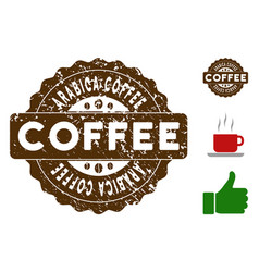 Arabica coffee badge stamp with grungy style vector