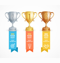 Award cup menu infographic option banner card vector