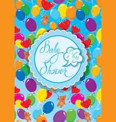 baby shower with round frame air balloons and vector image