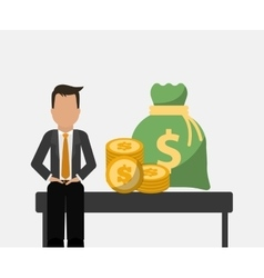 Banking man business sit with bag money and coins vector