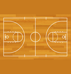 basketball fireld with markings and wood texture vector image