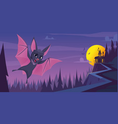 bat background scary flying wild animal in night vector image