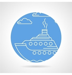Blue round icon for steamer vector