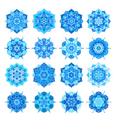 Blue snowflake flower mandalas vector