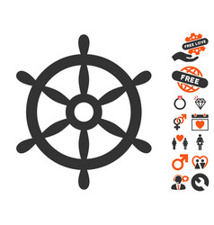 Boat steering wheel icon with love bonus vector