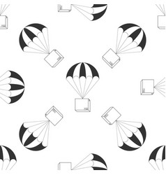 box flying on parachute icon seamless pattern vector image