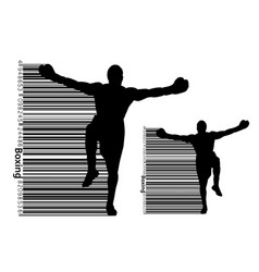 boxer silhouette and barcode winner vector image
