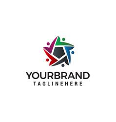 Business people community star logo design vector