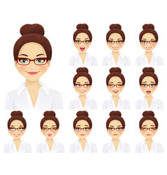 Business woman expressions set vector