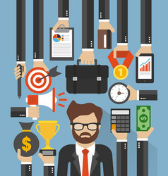 Businessman management flat design vector
