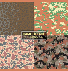 Camouflage pattern set four different textures vector