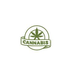 cannabis circle emblem logo vector image