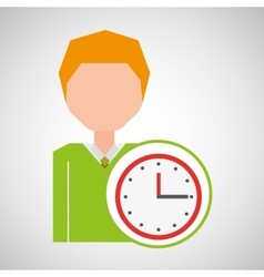 Cartoon business man clock time icon vector
