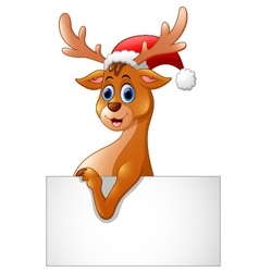 cartoon deer hold blank sign vector image