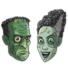 cartoon halloween green zombie monsters characters vector image