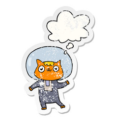 Cartoon space cat and thought bubble as a vector