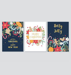Christmas and new year gift cards collection vector